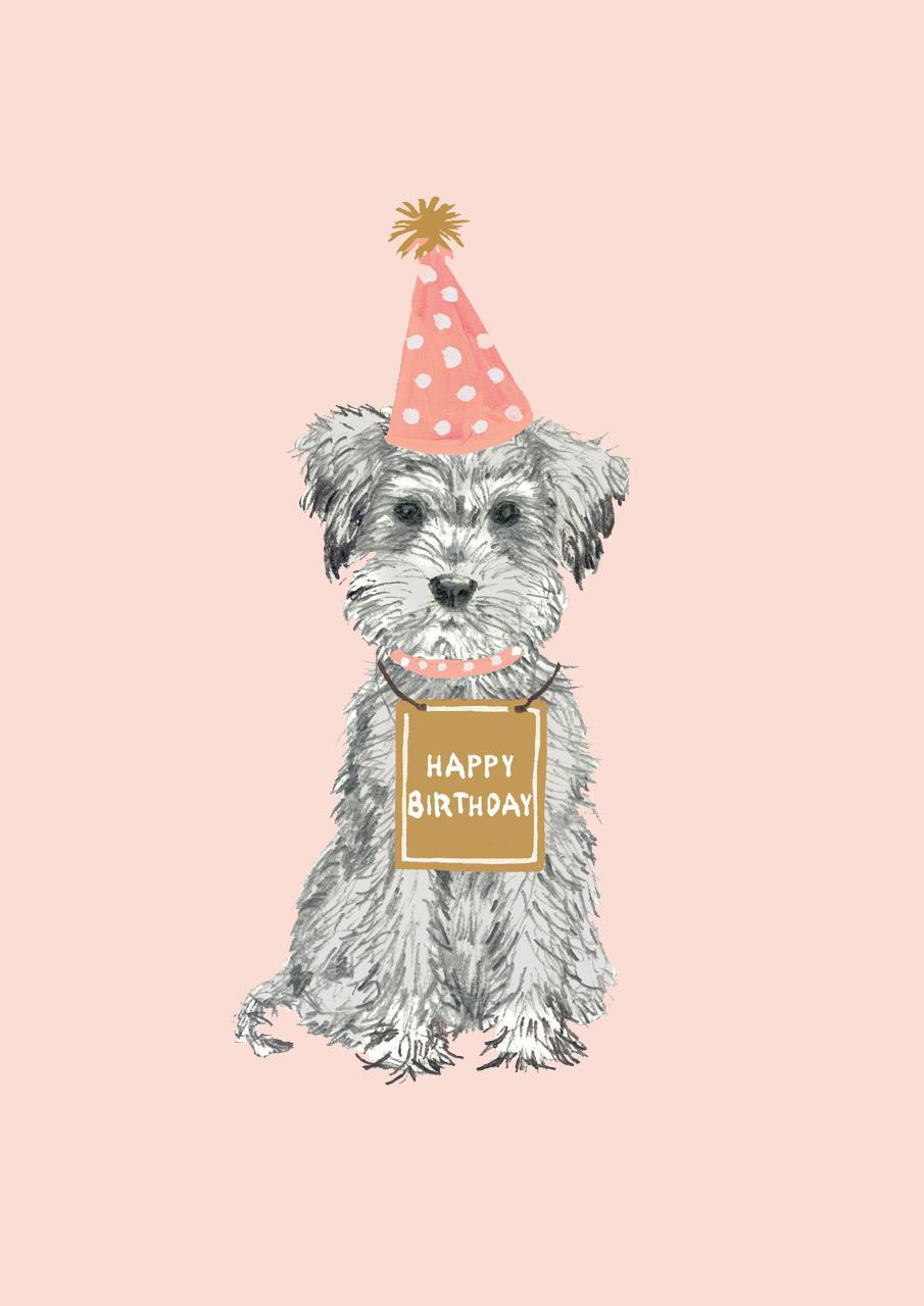 Cute Happy Birthday Dog Themed Card