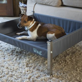 This Henry Wag Elevated Dog Bed combines contemporary design with strength and durability. The strong metal frame and firm base offers comfort and support and the detachable fabric cover can be wiped down or removed for convenient machine washing. The raised design ensures the dog is kept up off the floor away from drafts and allows for air circulation so eliminating the condensation and dampness often associated with traditional fabric beds. The Henry Wag Mircofibre Noodle Pet Mat is the perfect bed liner for this bed.