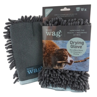 This Henry Wag Pet Microfibre Glove has advanced microfibre technology making drying and cleaning your pet effective and easy, contributing to a healthier happier pet. How to use: Simply position the internal stitching between your index and middle fingers for control.  Gently rub your pet's fur with the noodle side of the glove to remove water and dirt.  Take care to clean the legs and paws thoroughly.  Use the smooth side in the direction of the fur to produce a sheen. Care instructions: After use, wash at 40 degrees with a little detergent.  Can be tumble dried on a low heat.