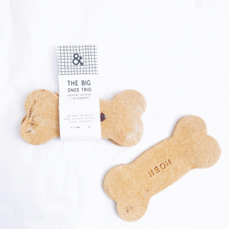 Why have one biscuit when you can have three?  These Organic Peanut Butter & Blueberry Dog Biscuit Bone Trio are the perfect reward for your pooch.  Made with a special blend of gluten and wheat free flours and crafted with the freshest human grade ingredients, these are sure to make a lasting impression. - Hard and crunchy texture - Minimal temperatures used to maintain nutritional content and flavour - Sustainably sourced ingredients - Environmentally friendly packaging Ingredients: Organic coconut flour, organic buckwheat flour, butternut squash, sweet potato, peanut butter, organic chia seeds, organic blueberries, organic coconut oil, vanilla bean Analytical constituents: Moisture 18.2%, Protein 14.4%, Fat & Oils 10.9%, Ash 2.9%, Crude Fibre 8.9% Size and weight: 12.5cm and 3 x 30g Shelf life: 12 months. Feed as part of a balanced diet depending on the size and activity of the dog. Feed from 3 months onwards.  Always consult a veterinarian prior to introducing any new foods into your dogs diet.